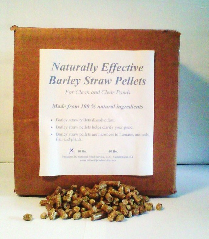 Barley straw clarifier pellets for pond water